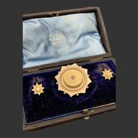 15CT Antique Victorian Star Brooch and Diamond Earrings Pendant Set in original box