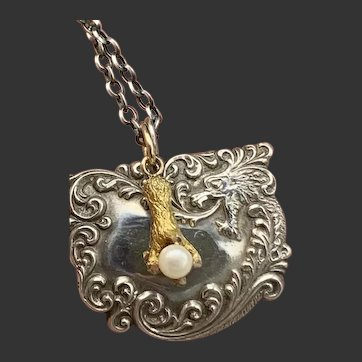 Solid 14KT Gold Dragon Fist w/ Sterling Dragon Pendant on Sterling Silver Chain
