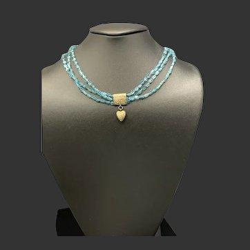14KT Engraved Mourning Hair Heart Locket Slide on Apatite Necklace