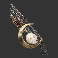 Skull Amulet w/ Diamond Eyes under a Crescent Moon Necklace