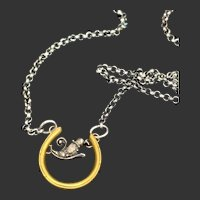 14KT Gold Horseshoe w/ Sterling Silver Rose-Cut Diamond Accent Necklace