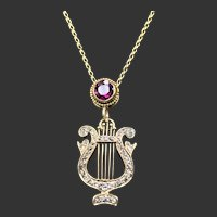 14KT Diamond Lyre w/ Garnet Necklace