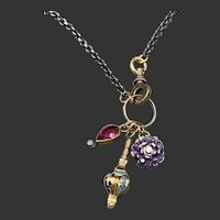 Victorian Baby Ring Charm Necklace w/ Enamel Flower and Diamond Necklace