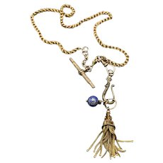 14KT Solid Gold Watch Chain Necklace w/ Fob Hook, Tassel and Enamel Gem Fob