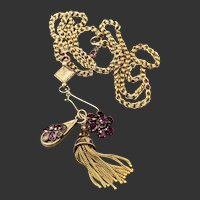 14KT Gold Watch Chain Necklace w/ Ruby, Garnet and Tassel Fob Hook