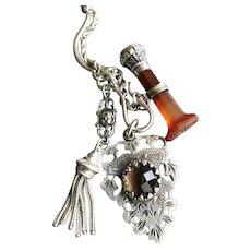 Albertina 800 Silver Double Necklace and Bracelet Set w/ Wax Seal Carnelian & Smoky Quartz Fob