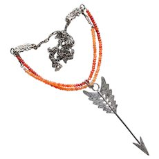 Celtic Engraved Arrow Pendant on Fire Opal Sterling Silver Chain
