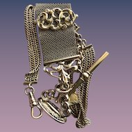 Antique Victorian Watch Chain Slide with Fob Necklace