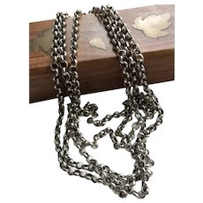 Sterling Silver Antique Muff or Watch Chain Victorian