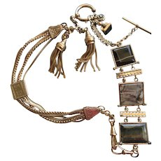 Agate Panel Fob and Watch Chain Necklace and Tassel Set