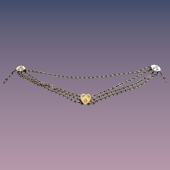 Victorian Triple Slide Heart Choker Necklace