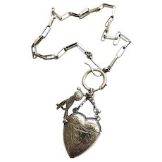 Sterling Silver Watch Chain Fob Hook w/ Antique 1891 Heart Vesta and Tassel