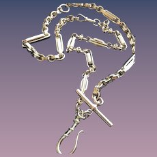 9CT Solid Rose Gold Fob Hook on a Watch Chain Necklace and Bracelet