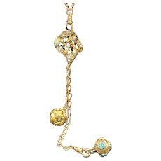 14KT Turquoise Repousse Charm Fob Tbar Necklace w/ Enameled Opal Pendant on 10KT chain