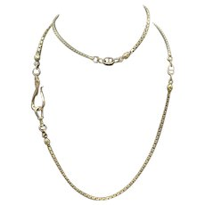Solid TriGold 10KT Gold Watch Chain Necklace w/ Fob Hook