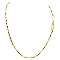 14KT Solid Gold Watch Chain Necklace w/ Lyre & Hook