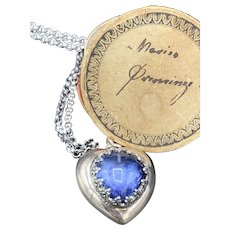 Blue Heart Synthetic Sapphire Heart Mourning Pendant w/ Sterling Chain