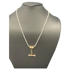 Gold Watch Chain Slide Necklace on Freshwater Pearls & Rock Crystal Tbar Pendant