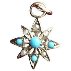 Turquoise Star Charm Pendant in Solid 10KT Gold