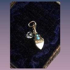 9kT Gold Turquoise Pendant Charm w/ Rock Crystal Heart Dangle