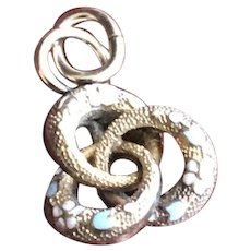 9KT Gold Enamel Marriage Ring Charm Pendant