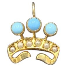 Turquoise Gold Crown Charm Pendant