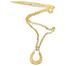 Diamond Horseshoe Gold Charm Pendant