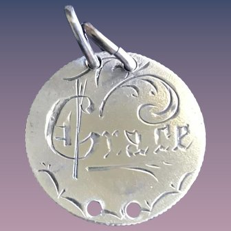 Antique Victorian  Grace Double-Sided Name Love Token Coin 800/1000 Silver