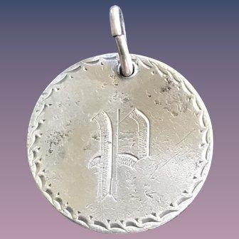 Antique Victorian  P Initial 1845 Name Love Token Coin 800/1000 Silver