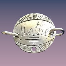 Antique Victorian Mother 1870 Name Love Token Coin 800/1000 Silver