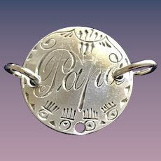 Antique Victorian  PAPA 1874 Name Love Token Coin 800/1000 Silver