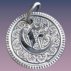 Antique Victorian  C Initial 1853 Name Love Token Coin 800/1000 Silver