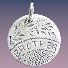 Antique Victorian BROTHER 1887 Name Love Token Coin 800/1000 Silver