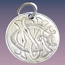 Antique Victorian  MG GM Initial 1800's Name Love Token Coin 800/1000 Silver