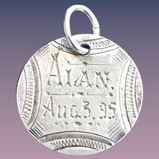 Antique Victorian  ALAN 8/3/1895 Name Love Token Coin 800/1000 Silver