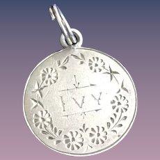 Antique Victorian  IVY 1800's Name Love Token Coin 800/1000 Silver