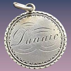 Antique Victorian  Dannie 1887 Name Love Token Coin 800/1000 Silver