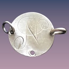 Antique Victorian  N Initial 1800's Name Love Token Coin 800/1000 Silver