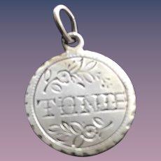 Antique Victorian TONIE 1887 Name Love Token Coin 800/1000 Silver
