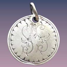 Antique Victorian  SAS ASS SSA Initial 1800's Name Love Token Coin 800/1000 Silver