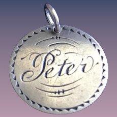 Antique Victorian Peter 1800's Name Love Token Coin 800/1000 Silver