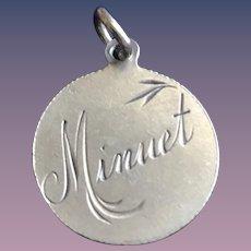 Antique Victorian  MINUET Dance 1800's Name Love Token Coin 800/1000 Silver
