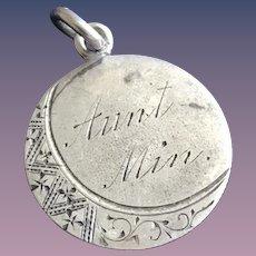 Antique Victorian Moon  Aunt MIN 1800's Name Love Token Coin 800/1000 Silver
