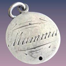 Antique Victorian  MAMA 1800's Name Love Token Coin 800/1000 Silver