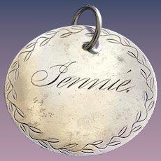 Antique Victorian JENNIE 1800's Name Love Token Coin 800/1000 Silver
