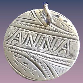 Antique Victorian  ANNA Initial 1800's Name Love Token Coin 800/1000 Silver