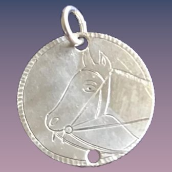 Antique Victorian  Horse WEF Initials 1800's Name Love Token Coin 800/1000 Silver