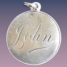 Antique Victorian  John Initial 1800's Name Love Token Coin 800/1000 Silver