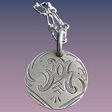 Antique Victorian  A Initial 1800's Name Love Token Coin 800/1000 Silver
