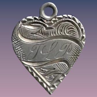 Antique Victorian  Heart TLP 1892 Initial 1800's Name Love Token Coin 800/1000 Silver